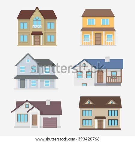 House vector illustration. Home exterior set in flat style. House modern and traditional. Residential house collection isolated the background.  - stock vector