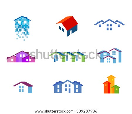 house vector logo design template. town or building icon - stock vector