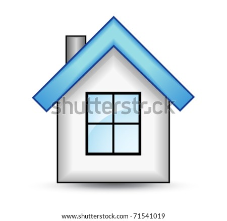 House with a blue roof - stock vector