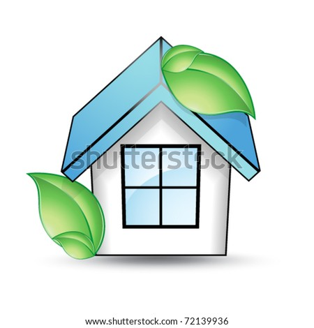 House with a blue roof and green leaf - stock vector