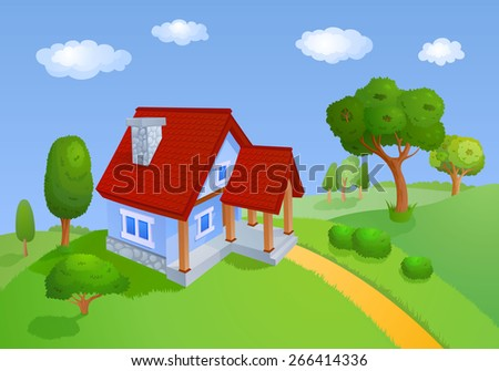 House with a red roof is located in the hills with trees