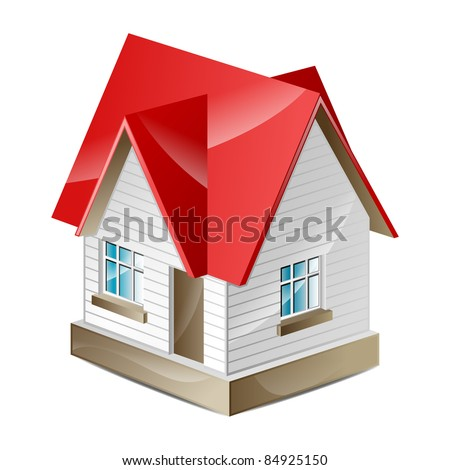 House with a red roof on a white background