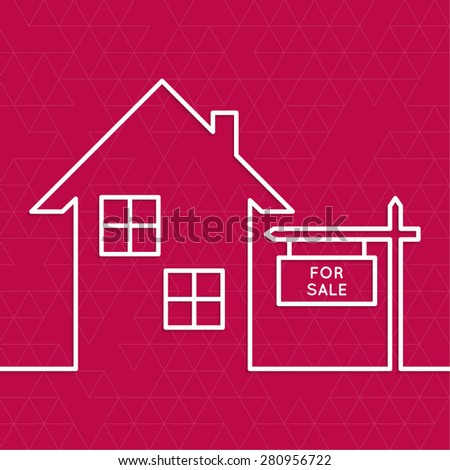 House with a sign for rent. Rental housing. real estate logo. red background. minimal. Outline. - stock vector