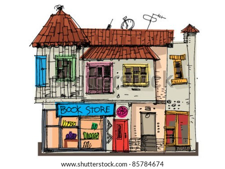 house with book store - stock vector