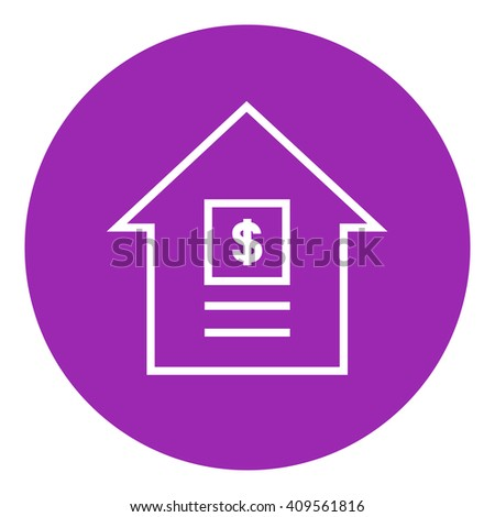 House with dollar symbol line icon. - stock vector