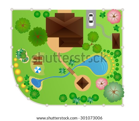 House with garden layout, vector, view from above - stock vector