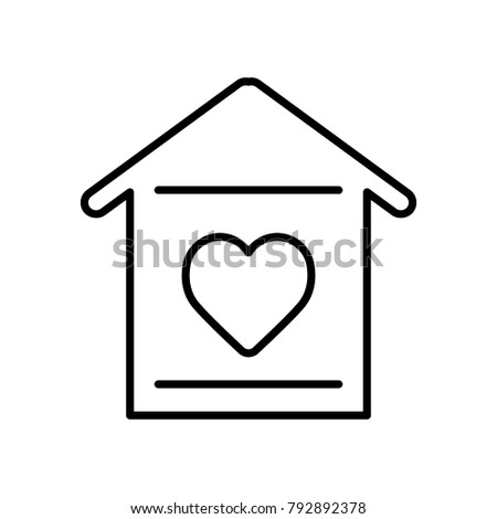 House With Heart Icon Simple Outline Vector On White Background