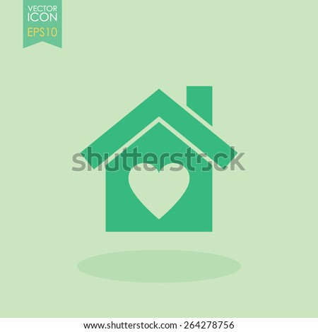 House with heart vector icon. - stock vector
