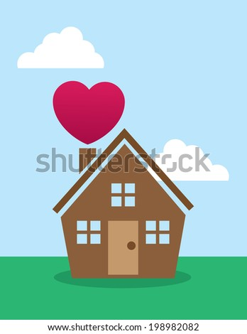 House with large heart over chimney  - stock vector