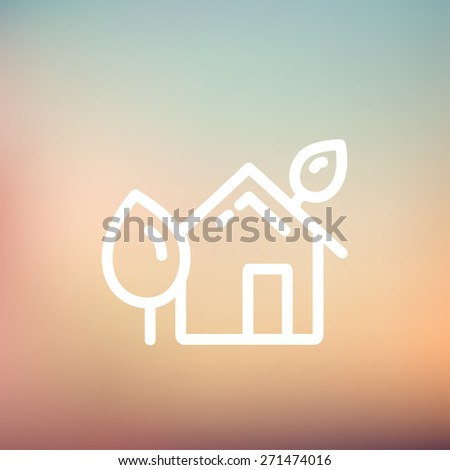 House with leaves icon thin line for web and mobile, modern minimalistic flat design. Vector white icon on gradient mesh background. - stock vector