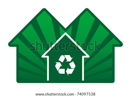 House with recycle sign, vector illustration - stock vector