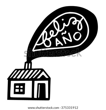 House with smoking chimney - Spanish translation: Happy New Year - stock vector