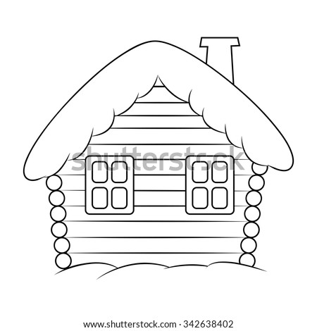 House With Snow Cartoon Silhouette Illustration Winter Snowy Christmas Home Cottage Isolated On White