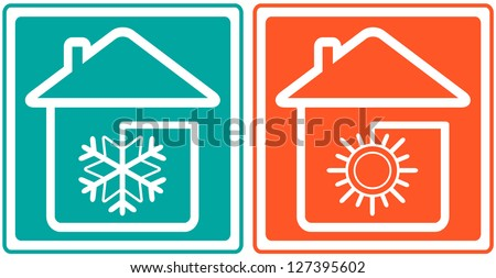 house with snowflake and sun. home conditioner symbol  - climate control - stock vector