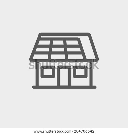 House with solar panel icon thin line for web and mobile, modern minimalistic flat design. Vector dark grey icon on light grey background. - stock vector