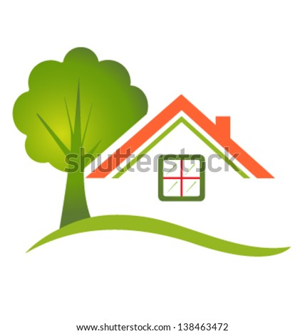 House with tree for real estate or rental houses - stock vector