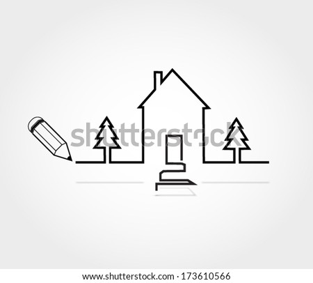 House with two pine trees outline  - stock vector
