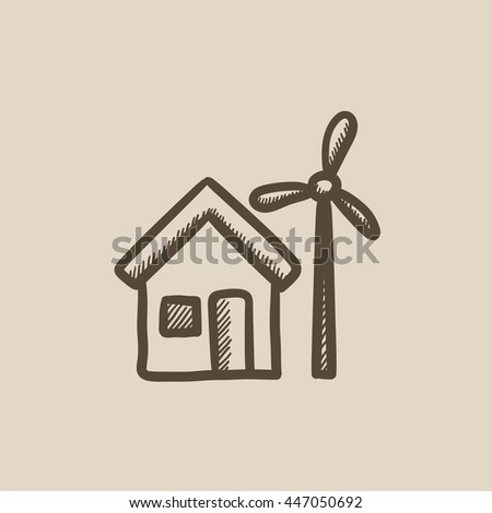 House with windmill vector sketch icon isolated on background. Hand drawn House with windmill icon. House with windmill sketch icon for infographic, website or app. - stock vector