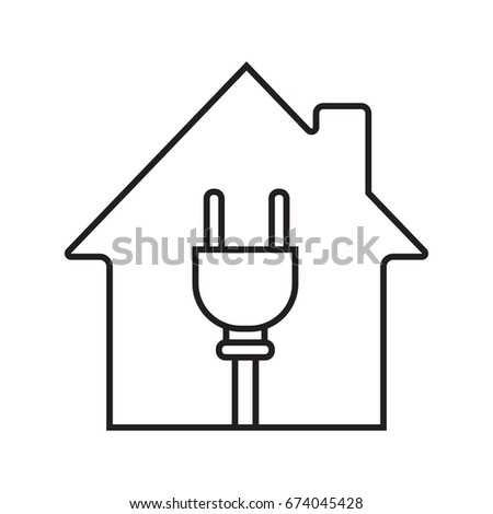 House Wire Plug Inside Linear Icon Stock Vector HD (Royalty Free ...