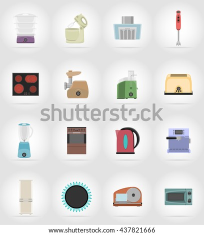 household appliances for kitchen flat icons vector illustration isolated on background - stock vector