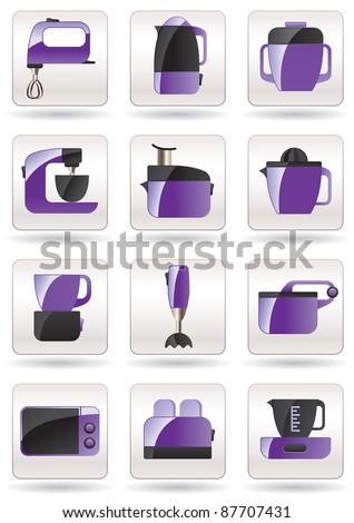 Household appliances for kitchen - vector illustration - stock vector