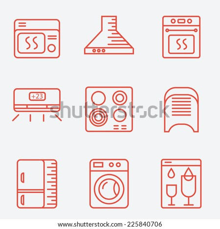 Household appliances icons, thin line style, flat design - stock vector