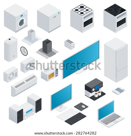 Household appliances isometric icon set vector graphic illustration - stock vector