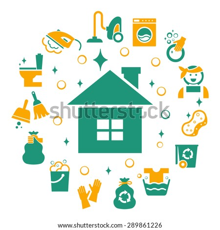 Household cleaning icons set. Sponge and housework, glove and bucket, wash and housekeeping, vector illustration - stock vector