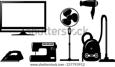 Household electronic elements in silhouette flat style - stock vector
