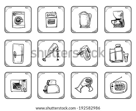Household equipment icons - stock vector