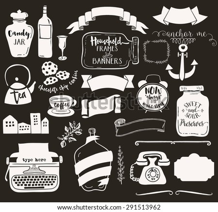 Household Frames and Banners - Set of everyday objects, including jars, teapot, vintage typewriter, alarm clock and retro telephone, used as whimsical labels. Black and white, hand drawn - stock vector