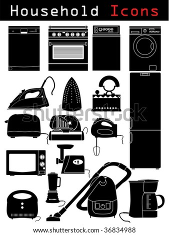 Household icons - stock vector