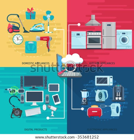 Household icons concept set of domestic appliances kitchen equipment and digital products square composition flat vector illustration       - stock vector
