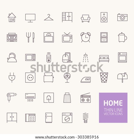 Household Outline Icons for web and mobile apps - stock vector