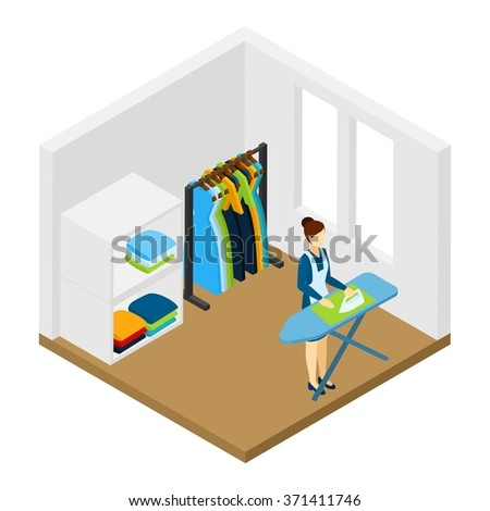 Household processional help for working women isometric pictogram with ironing and cleaning service at work abstract vector illustration