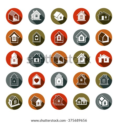 Houses abstract icons, can be used in advertising and as branding in real estate business and construction. Set of simple buildings, vector architecture theme graphic symbol.
