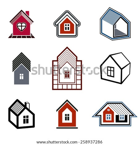 Houses abstract icons, real estate business and construction. Set of simple buildings.