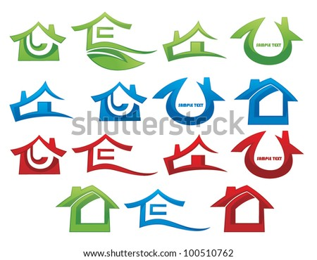houses and cottages vector symbols - stock vector