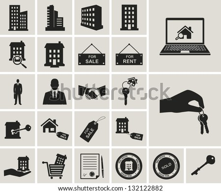 houses and real estate vector icons set - stock vector
