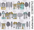 houses and trees - stock vector