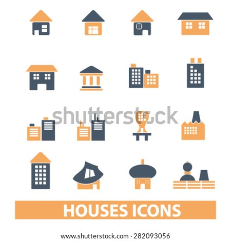 houses, buildings icons, signs, illustrations set, vector - stock vector