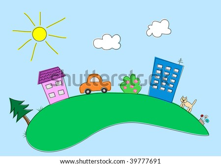 Houses, cat, car, trees, flowers, the sun and clouds in happy cartoon town - stock vector