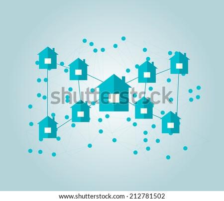 Houses connected in neighborhoods, vector illustration - stock vector