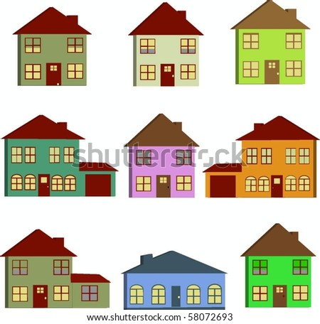 Houses 3d - stock vector