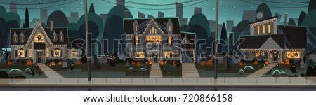 houses decorated for halloween home buildings front view with different pumpkins bats holiday celebration concept