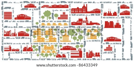Houses, factories, streets and various vehicles - an metropolitan city color vector cartoon illustration set - stock vector