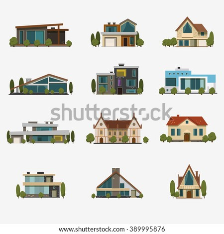Houses icons. Set of 12 icons flat design vector images. - stock vector