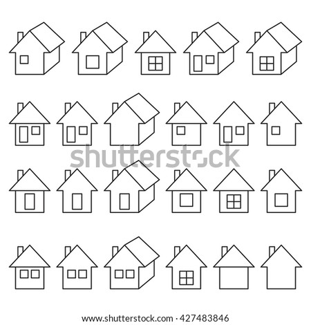 Houses icons set, real estate, outlined, black isolated on white background, vector illustration.