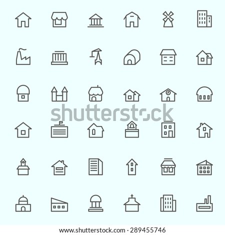 Houses icons, simple and thin line design - stock vector