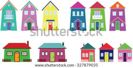 houses peaceful city collection cartoon neighborhood stock photo rh shutterstock com cartoon houses cartoon house png